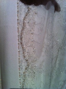 Hand-beaded lace detail on Lady Mary's wedding dress (photo by Brianne Gillen)