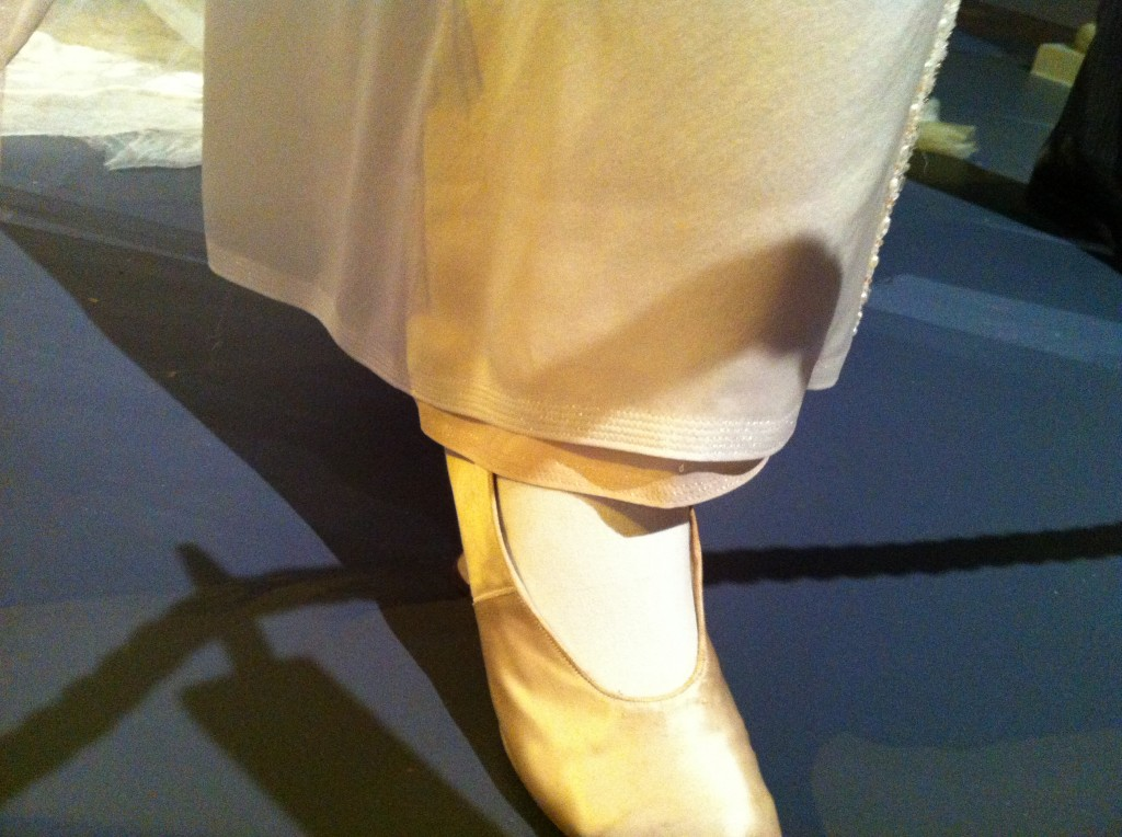 The beautiful hem stitching on Lady Mary's wedding gown (photo by Brianne Gillen)
