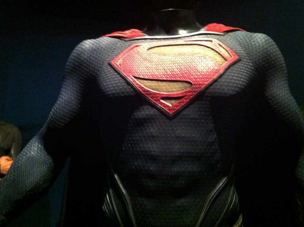 Detail of the new Superman suit from Man of Steel (photo by Brianne Gillen)