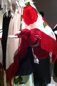 Detail of interesting red leather gloves from AHS: Coven (costume designer ___)